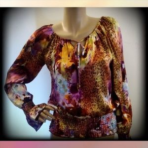 Cache 100% Silk Animal Print Bell Sleeve Blouse